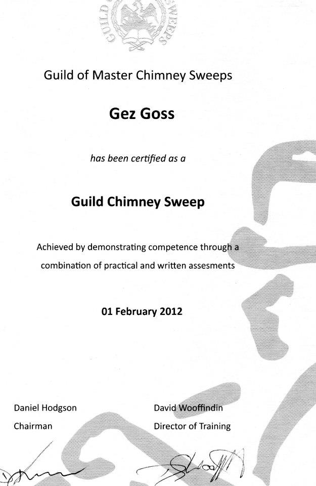 Certificate showing membership of the Guild of Master Chimney Sweeps Gez Goss is a Master Chimney Sweep