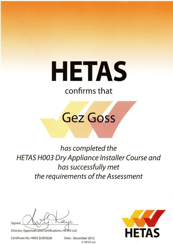 Hetas approved installer of stoves - Gez Goss is a master chimney sweep and approved stove installer